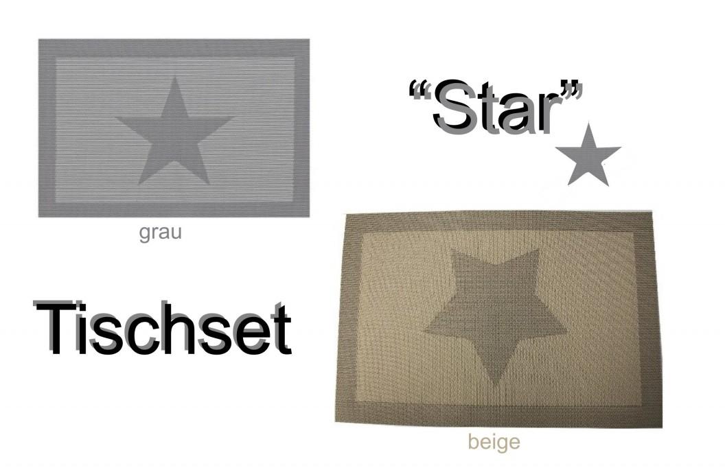 21342 tischset platzset platzmatte platzdeckchen abwaschbar stern grau beige pvc ebay. Black Bedroom Furniture Sets. Home Design Ideas