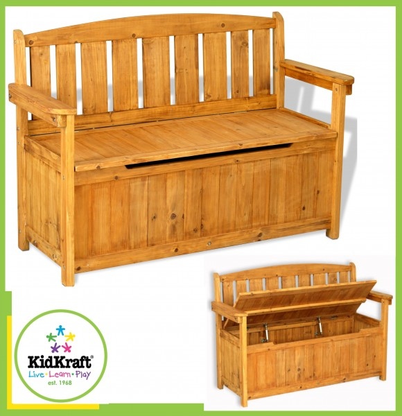00013 kidkraft kinder gartenbank sitzbank holzbank mit stauraum ebay. Black Bedroom Furniture Sets. Home Design Ideas