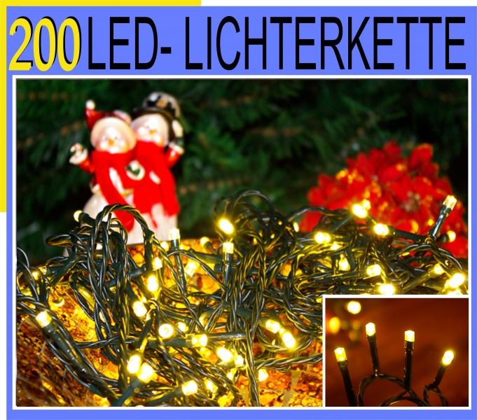 200er led lichter kette 30m innen aussen beleuchtung warm weiss gr n 66474 ebay. Black Bedroom Furniture Sets. Home Design Ideas