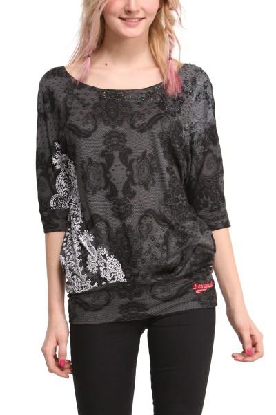 46t2530 desigual damen t shirt shirt ts gloria 2020 gris. Black Bedroom Furniture Sets. Home Design Ideas